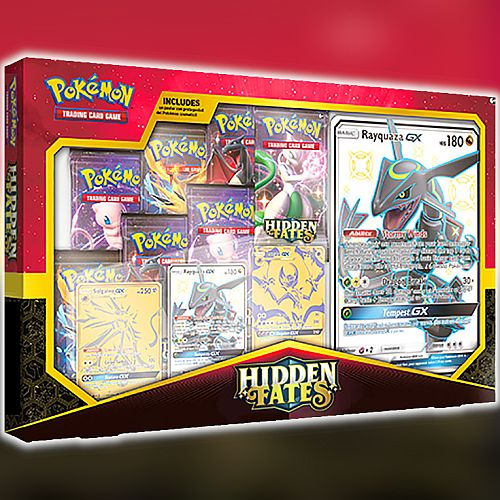 Pokemon Hidden Fates Premium Powers Collection Rayquaza Solgaleo Lunala 7 Boosters 1 Shiny 2 Gold Secret Gx Oversize Plakat