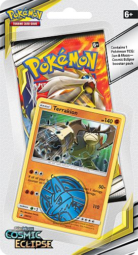 Pokemon Blister Pack - 1 Sun & Moon: Cosmic Eclipse Booster Pakke + Pokemon Mønt & Black Star Promo (Checklane)