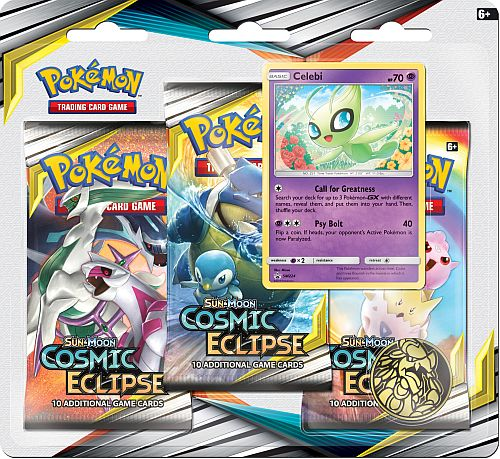 Pokemon Blister Pack - 3 Sun & Moon: Cosmic Eclipse Booster Pakker + Pokemon Mønt & Black Star Promo