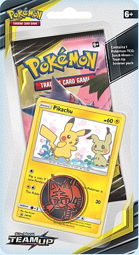 Pokemon Blister Pack - 1 Sun & Moon: Team Up Booster Pakke + Pokemon Mønt & Black Star Promo (Checklane) *Sjælden*