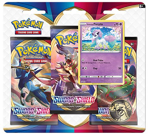 Pokemon Blister Pack - 3 Sword & Shield: Base Set Booster Pakker + Pokemon Mønt & Black Star Promo