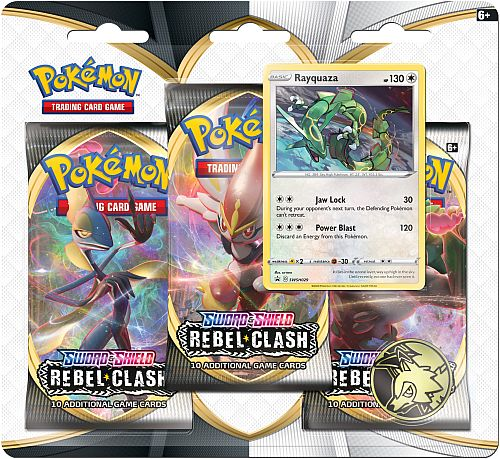Pokemon Blister Pack - 3 Sword & Shield: Rebel Clash Booster Pakker + Pokemon Mønt & Black Star Promo