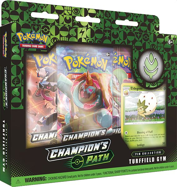 Pokemon Champion's Path - Pin Collection: Turffield Gym - 3 Boosters, Promo & Pin