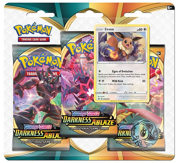 Pokemon Blister Pack - 3-Pack: 3 Sword & Shield: Darkness Ablaze Booster Pakker + Pokemon Mønt & Black Star Promo