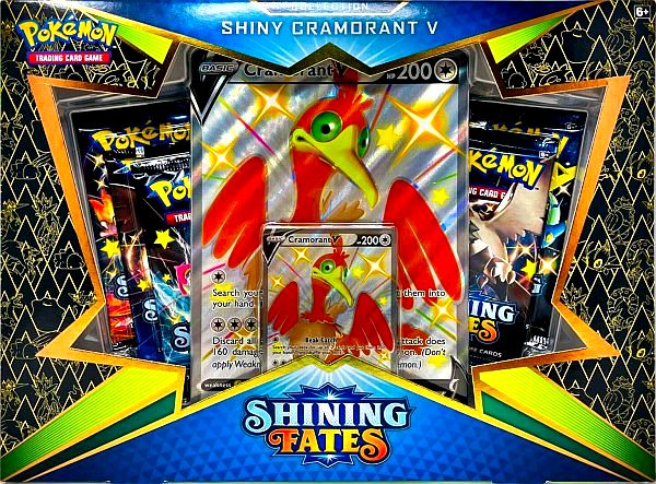 Pokemon Shining Fates - V Box: Shiny Cramorant V Collection - 5 Boosters, V-Promo & Oversize V-Promo